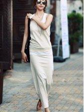 Korea Vogue Pure Color Tank and Drawstring Waist Long Skirt Set
