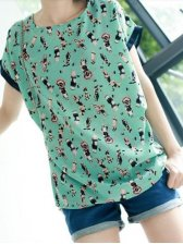 New Summer Fashion Chiffon Short Sleeve T-shirt