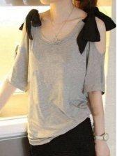 2012 Summer New Stylish Sweet Bowknot Leisure Off Shoulders Women T-shirts