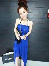 Wholesale Women's Slim Fit Stylish Pure Color Halter Dress