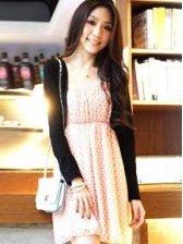 Hot Sale Korea New Stylish Dots Round Neck Chiffon Dress