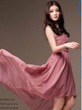 New Arrival Korea Fashion Pleated Pure Color Chiffon Dress