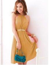 Hot Sale Round Neck Sleeveless Empire Waist Pure Color Chiffon Dress