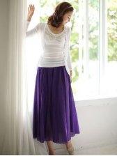 Hot Sale Summer Sweet Color Big Hem Long Style Skirts