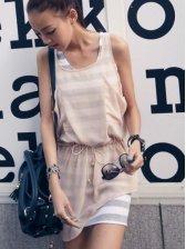Hot Sale Round Neck Asymmetrical Hem Drawstring Dress