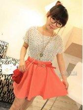 Stylish Color Block Round Neck Geometric Pattern Dress