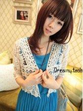 Japan New Fashion Women Lace Crochet Short Coat