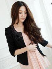 Hot Sale Diamond Decorate Princess Sleeve Short Coat