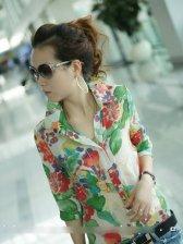 New Summer Vintage Style Floral Slim Fit Blouse