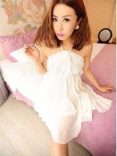 Wholesale Women's Stylish Pearl Chiffon Halter Dress
