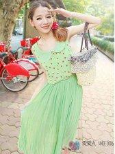 Japanese Style Polka Dots Pleated Dress