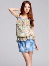 Boho Style New Low Waist Floral Print Straps Mini Dress