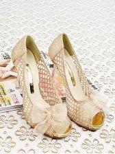 Lady's Vogue Bowknot Peep Toe High Heel Pump Shoes