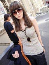 Wholesale V-neck Sleeveless Pure Color Straps Vest