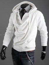 New Fashion Men Draped Neck Zip up Slim Hooded Coat