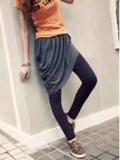 Vogued Women Pleated Asym Hem Harem Long Pantskirt