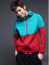 Wholesale Color Matching Zipper Slim Hooded Coat