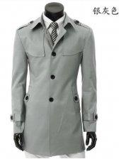 Men's Fashion Pure Color Single-breasted Slim Casual Coat