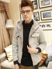 Korean Fashion Pure Color Zipper Hooded Coat