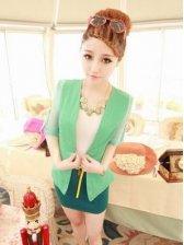 Wholesale Color Block Long Sleeve Slim Fit Short Coat
