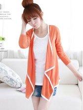 Wholesale Pure Color Binding Long Sleeve Coat