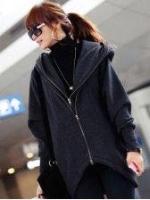 Korean Style Double Zippers Asymmetrical Hem Hooded Coat