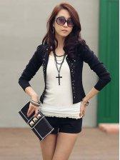 New OL Style Rivet Embellishment Long Sleeve Short Coat