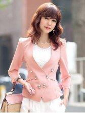 Korean Fashion Chiffon Pleated Back Buttons Design Slim Suit