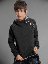 Korea Fashion Men Fastener Button Casual Pullover Hoodie
