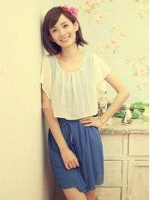 Charming Women Natural Waist Chiffon Short Sleeve Dress