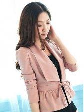 New Stylish Turn Collar Pure Color Slim Fit Short Coat