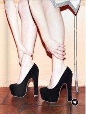 New Sexy Women Suede Waterproof Chunky Heel Pump