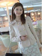 Korean Fashion Bowknot Design Solid Color Woolen Coat