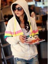 Popular Hot Sale Rainbow Stripe Zip up Hoodie