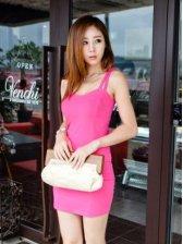 Korea Fashion New Pure Color Straps Mini Dress Clothes