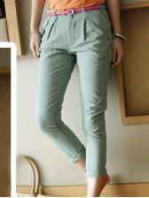 Women Fashion Pure Color Slim Fit Casual Long Pants