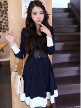 Hot New Women Six-button Cuff Color Block Mini Dress