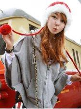 Korean Cute Style Zipper Bat Sleeve Hooded Loose Coat