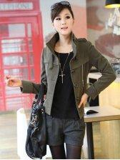 Korea New Fashion Side Zipper Fitted Short Coat