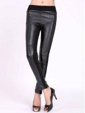Hot Sale Casual Slim Fit Color Block PU Pants