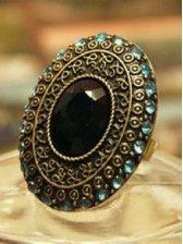 Women's Western Style Vintage Studded Jewel Finger Ring