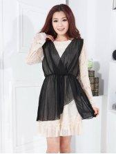 Japan New Fashion Chiffon Long Sleeve Fake Two-piece Dress