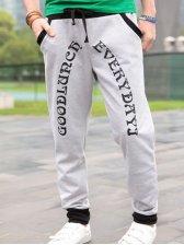 Fashionable Back Zipper Design Letter Print Casual Pants