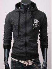 Wholesale Pure Color Slim Fit Skeleton Printing Coat