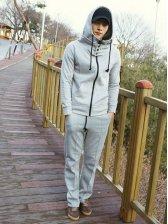 Men's Hooded Short Coat and Sports Long Pants Activewear