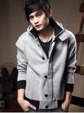Men Fashion Zipper Hooded Double Pockets Casual Coat