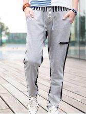 Hot Sale Men Stripes Slim Fit Drawstring Stripes Active Pants