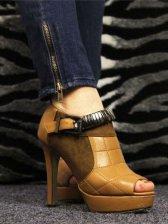 Women's Fashionable Back Zipper Closure High Heel Shoes
