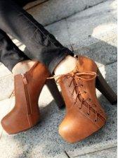 Hot Sale Lacing Side Zipper Chunky Heel Boots