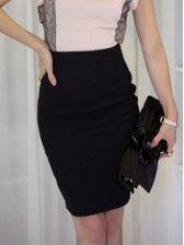 New Arrival Pure Color Slim High Waist Mid-length Skirt
